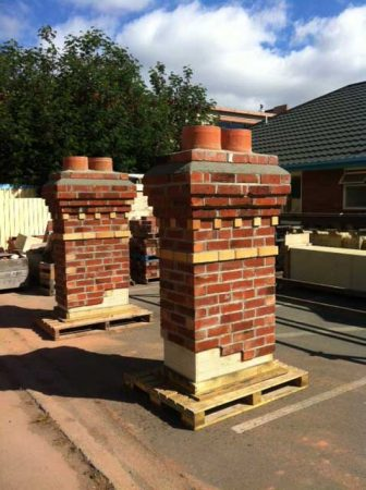 Fisher Ave quakesafe and quakeproof chimneys in Red Mantle yard ready to install. Brick slip replicas
