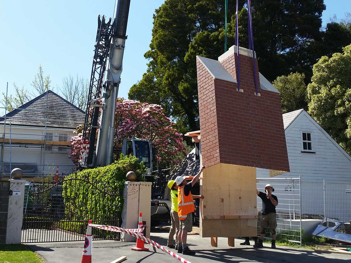 Composite Chimney Craned Into Place