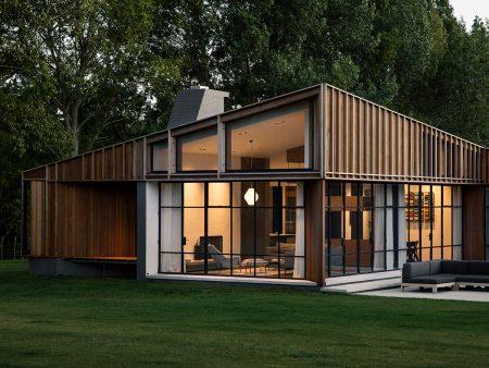 Award winning Red Mantle Composite Chimney on New Build in Matakana