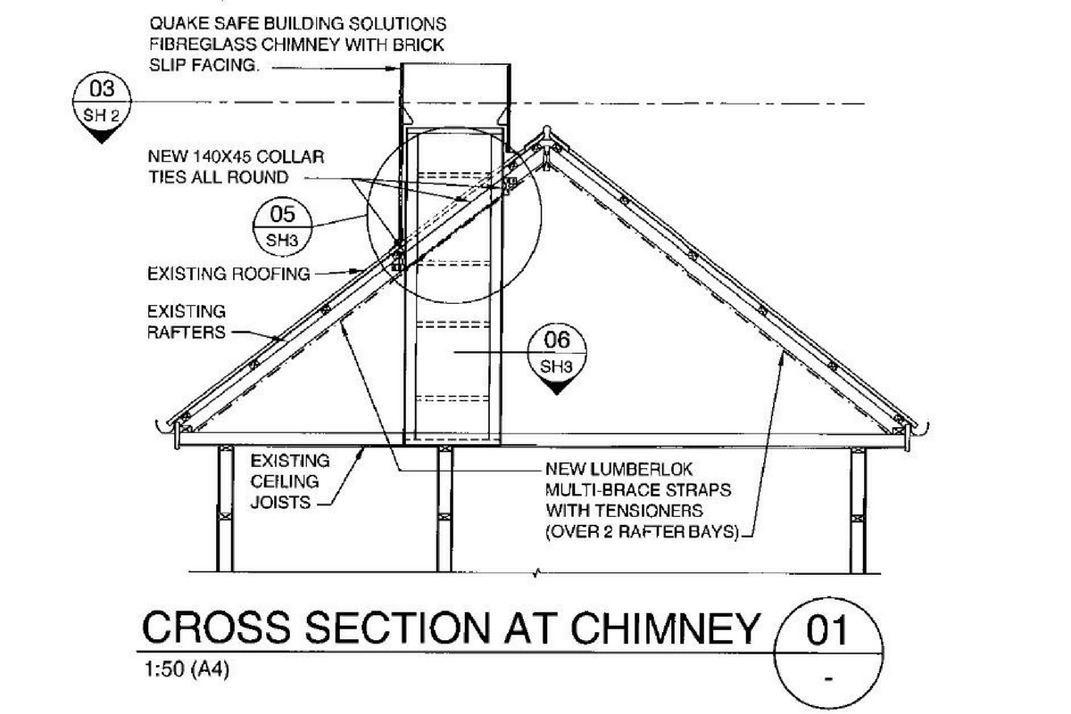 Replica Chimneys | Techinical drawing showing Red Mantle support frame attachment details