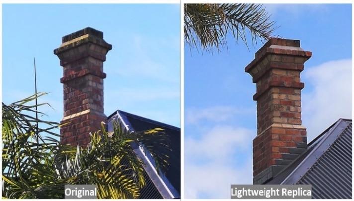 Red Mantle Auckland chimney repair and replacement. Exact replica, original bricks