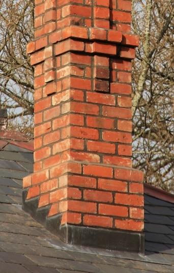 Red Mantle chimney flashings in lead