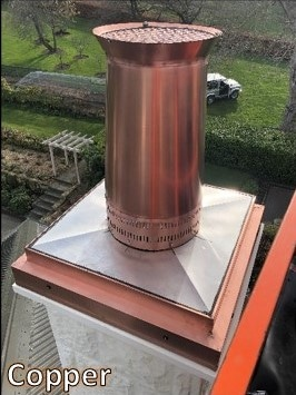 Copper pot on stainless steel lid for chimney