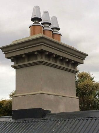 Red Mantle Replacement replica chimney with plaster finish