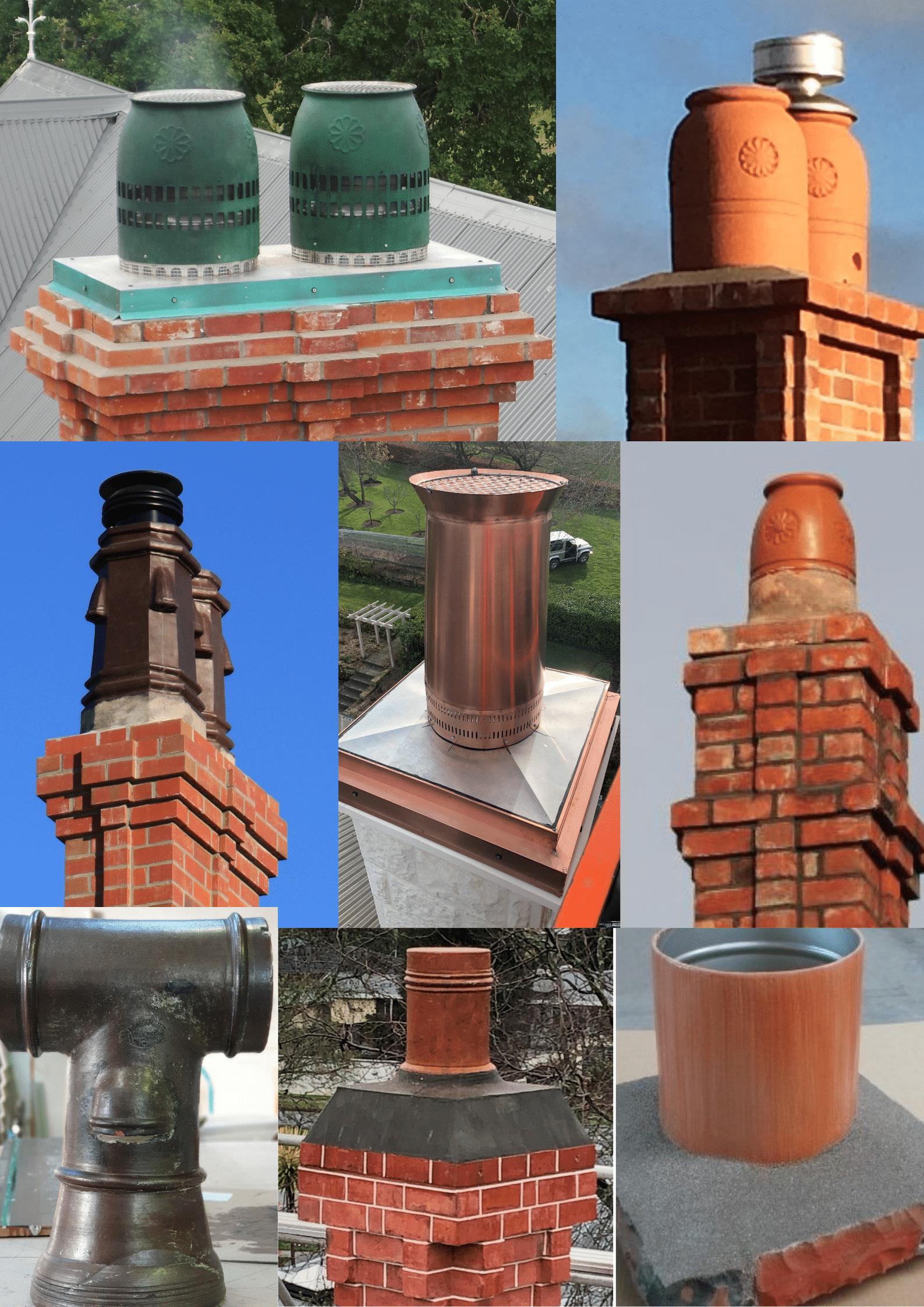 Chimney pots. Copper pot, bronze pots, fibreglass pots, terracota pot and pipe, Honey pot