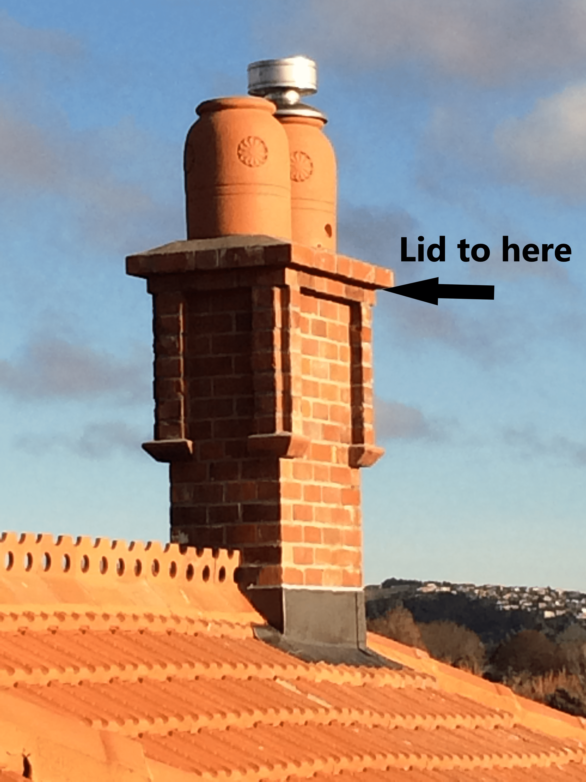 Red Mantle heritage replica chimney replacement showing chimney lid integration